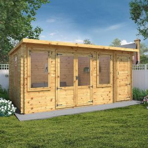 Windsor Visby 5.1m x 2.4m Pent Log Cabin with Side Shed (19mm)
