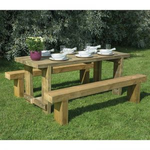 Forest 1.8m Refectory Table and Sleeper Bench Set