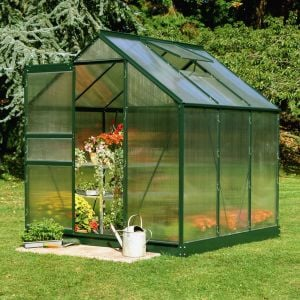 6x6 Green Frame Polycarbonate Greenhouse