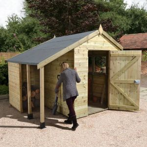 8' x 6' Shed Republic Ultimate Heavy Duty Shed with Logstore - Single Door