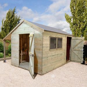 12' x 8' Shed Republic Ultimate Combination Workshop with Log Store - Single