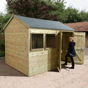 14' x 8' Reverse Apex Double Door Garden Workshop