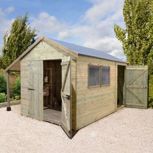 16' x 8' Shed Republic Ultimate Combination Workshop with Log Store - Double Doors
