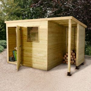 7x5 Shed Republic Ultimate Heavy Duty Shed - Single Door on Left with 3' Logstore on Right