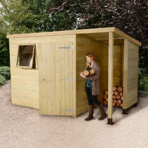 7x5 Shed Republic Ultimate Heavy Duty Shed - Single Door on Right with 3' Logstore on Right