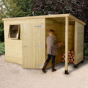 8x6 Shed Republic Ultimate Heavy Duty Shed - Single Door on Right with 3' Logstore on Right