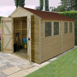 10' x 8' Forest Tongue and Groove Apex Pressure Treated Wooden Double Door Shed
