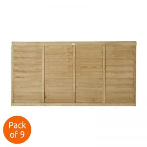 Forest 6' x 3' Pressure Treated Lap Fence Panel - Pack of 9