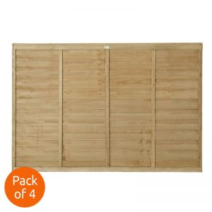 Forest 6' x 4' Pressure Treated Lap Fence Panel - Pack of 4