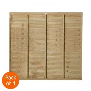 Forest 6' x 5' Pressure Treated Lap Fence Panel - Pack of 4