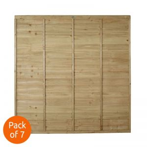 Forest 6' x 6' Pressure Treated Lap Fence Panel - Pack of 7
