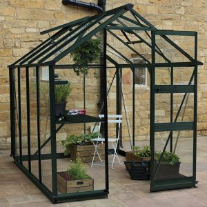 6' x 8' Eden Burford Small Greenhouse in Green (1.94m x 2.56m)