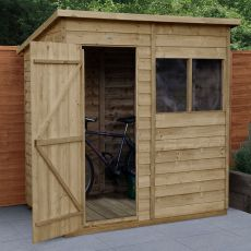 6' x 4' Forest Overlap Pressure Treated Pent Wooden Shed