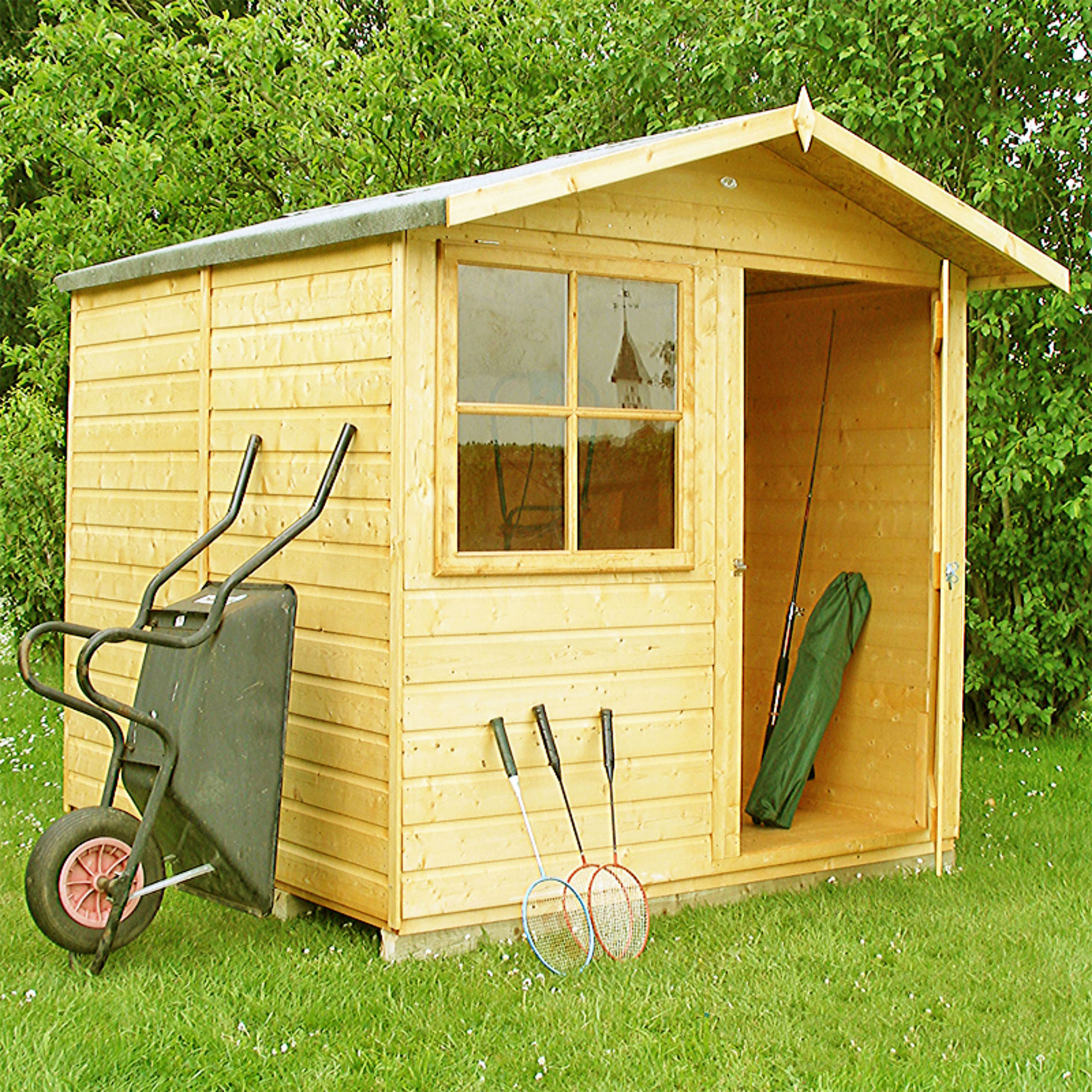 6'9 x 6'6 Shire Abri Apex Wooden Garden Shed (2.05m x 1.98m)