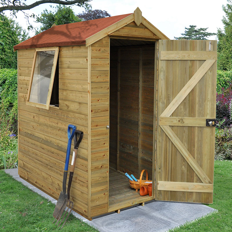 6' x 4' Forest Tongue and Groove Pressure Treated Wooden Shed (1.87m x 1.31m)