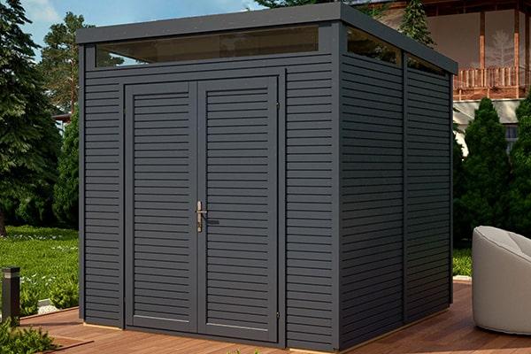 a modern security shed in dark grey