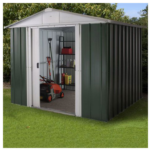 A green and silver apex metal shed