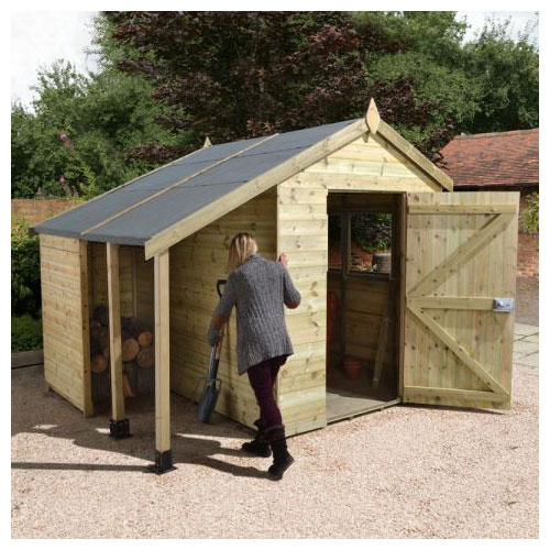 One of our best sheds: pressure treated, wooden apex with a single door and log store on the left hand side