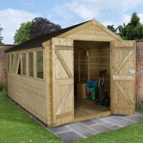 a 12x8 pressure treated wooden shed with 6 windows