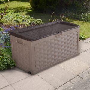 4x2 Rattan Effect Plastic Patio Storage Box