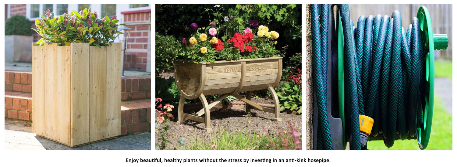 1 x 1 Forest Windsor Square Planter, 3 x 2 Rowlinson Marberry Barrel Planter and rolled up hosepipe