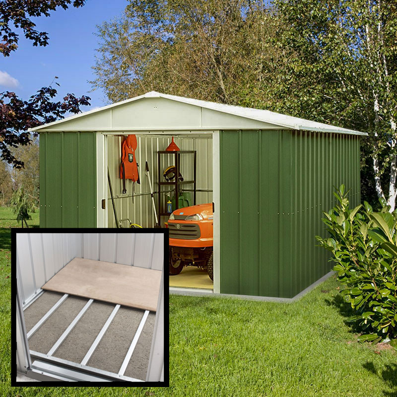 Image of 10' x 10' Yardmaster Green Metal Shed 1010GEYZ+ With Floor Support Kit (3.03 x 2.98m)
