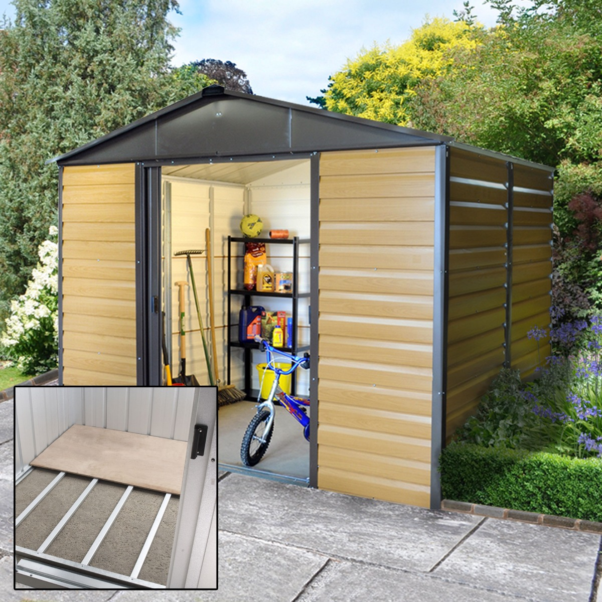 Image of 10' x 6' Yardmaster Balmoral Metal Shed 106WGL+ With Floor Support Kit (3.03m x 1.97m)
