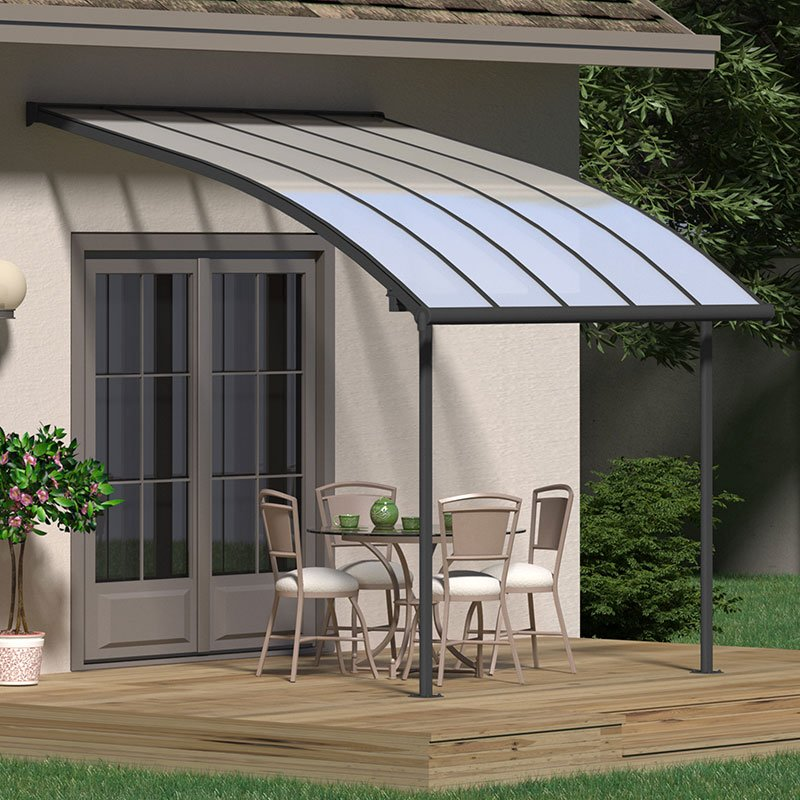 Image of 10x10 Palram Joya Grey Patio Cover With Clear Panels