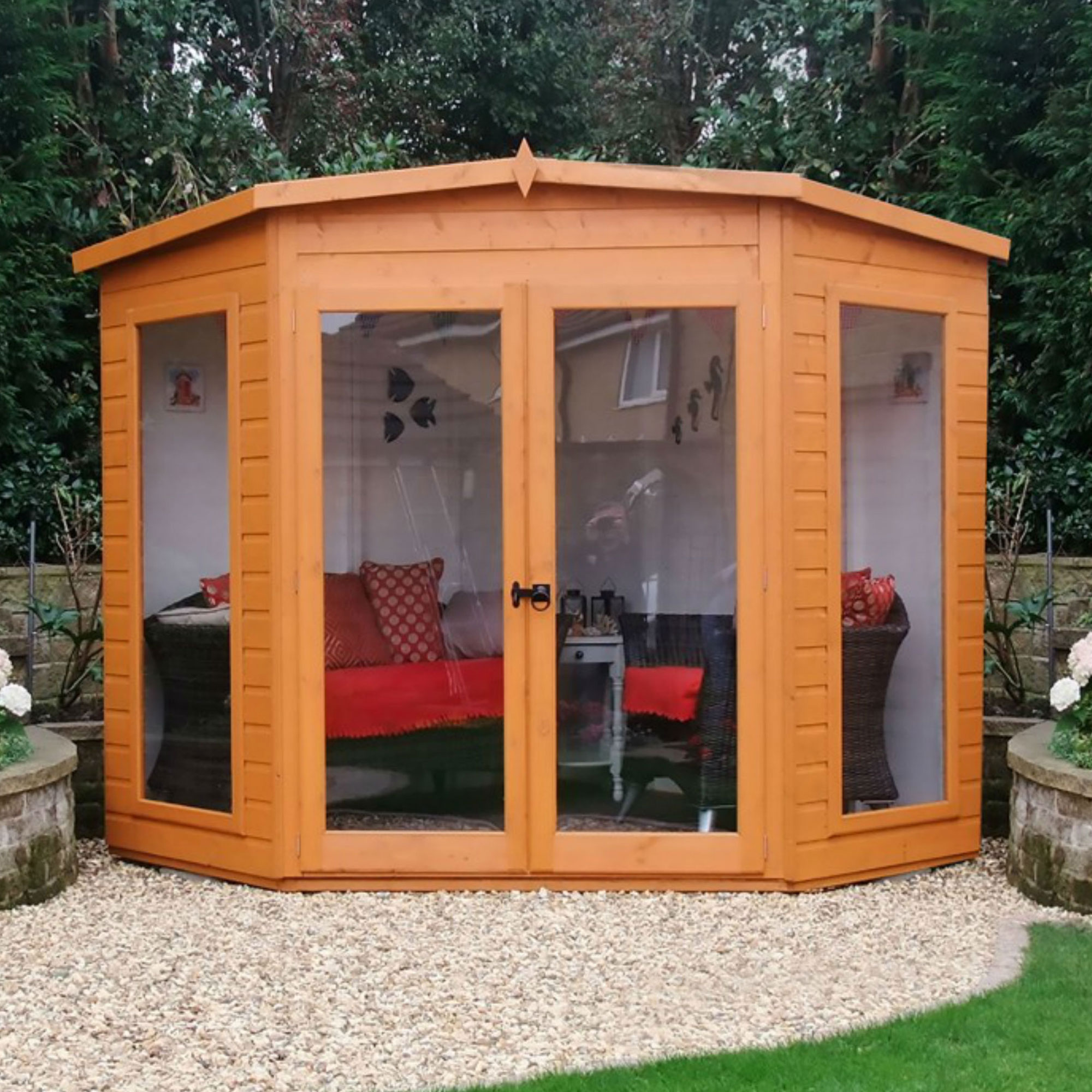 Image of 8' x 8' Shire Barclay Corner Wooden Summerhouse (2.3x2.3m)