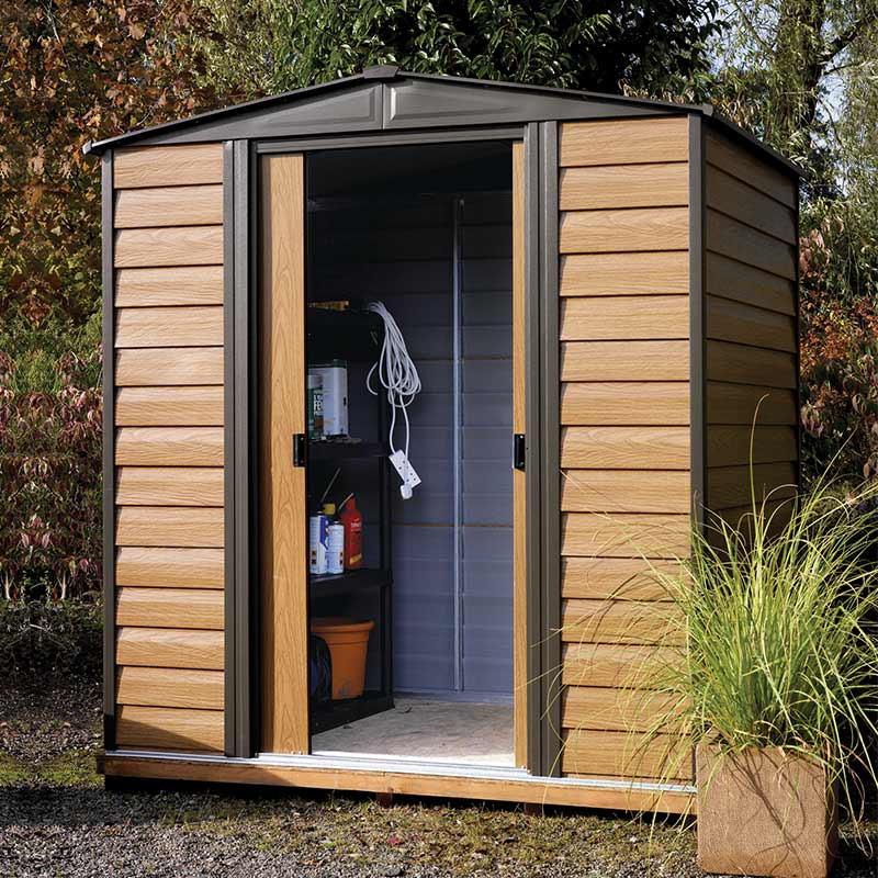 Image of 10' x 6' Arrow Woodvale Garden Metal Storage Shed (3.13m x 1.82m)