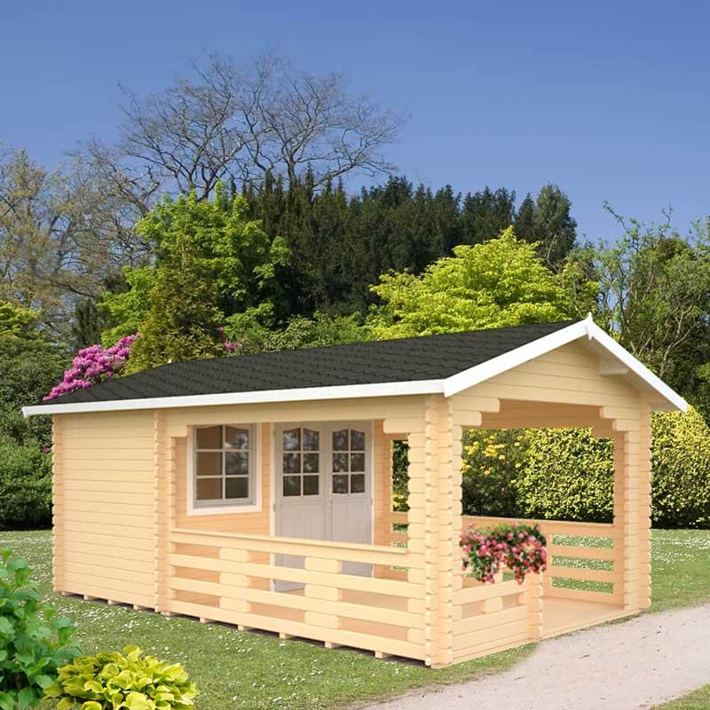Image of 2.1x3.65m (7'x12') Palmako Sylvi 44mm Log Cabin - Summerhouse