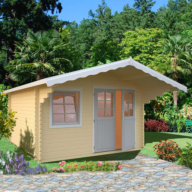 Image of 3.9x3.9m (13'x13') Palmako Sally 44mm Log Cabin - Garden Room