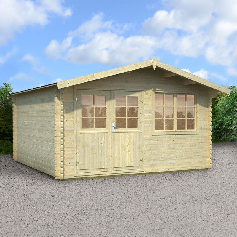 Image of 3.9x3.9m (13'x13') Palmako Broadway 34mm Log Cabin - Summerhouse