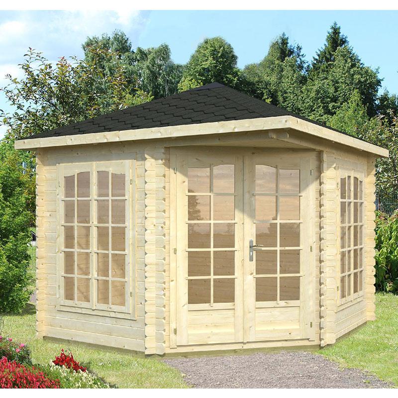 Image of 2.8x2.8m (9'x9') Palmako Melanie 28mm Corner Log Cabin - Summerhouse
