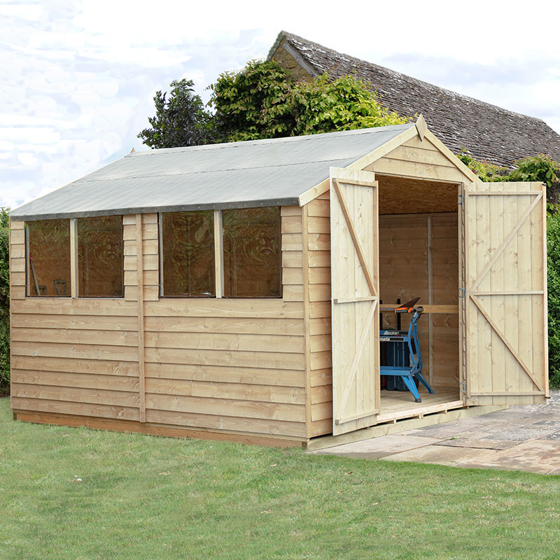 Image of 10' x 10' Forest Overlap Apex Pressure Treated Wooden Double Door Shed (3.01 x 3.01m)