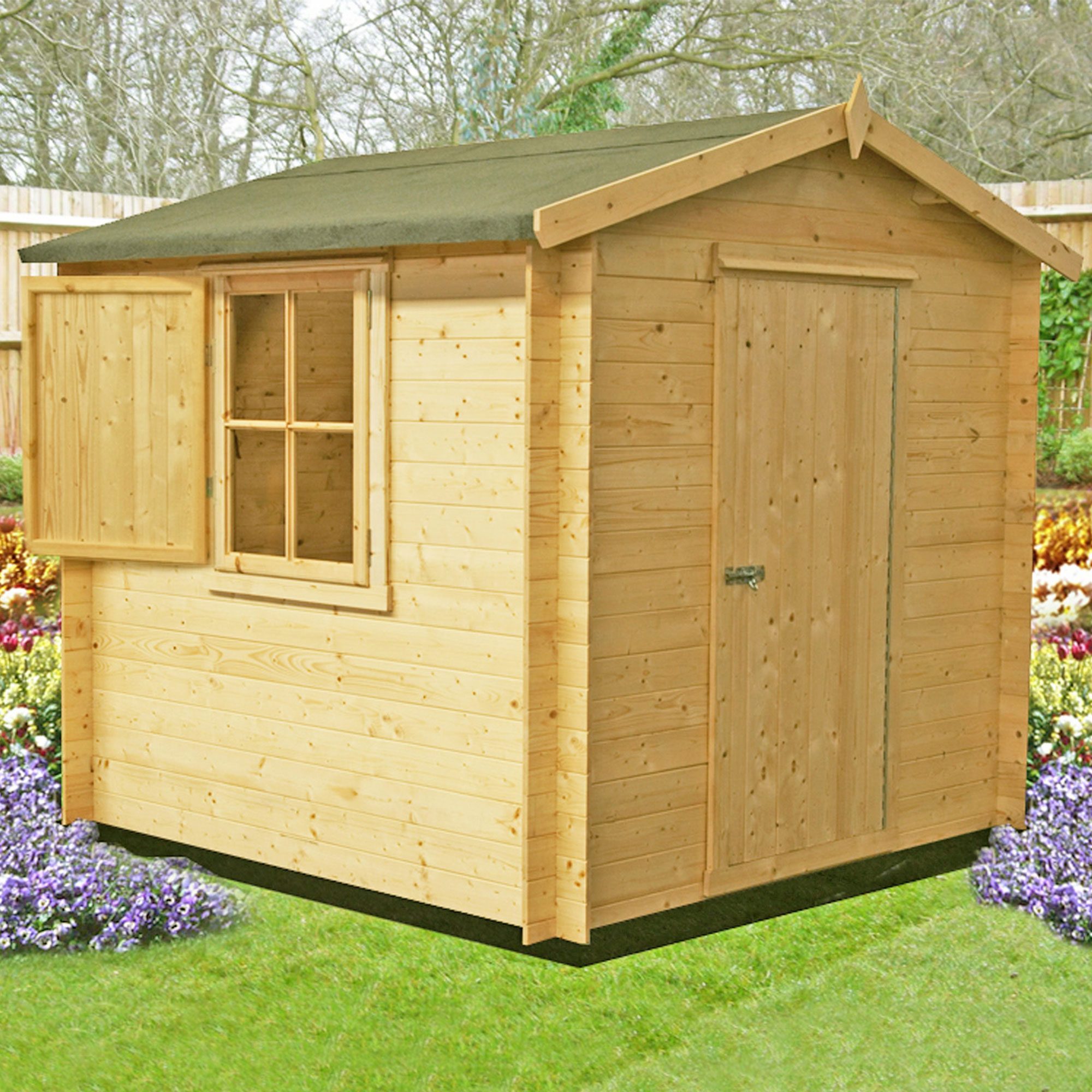 Image of 2.1x2.1m (7'x7') GardenStyle Camelot 19mm Log Cabin Shed