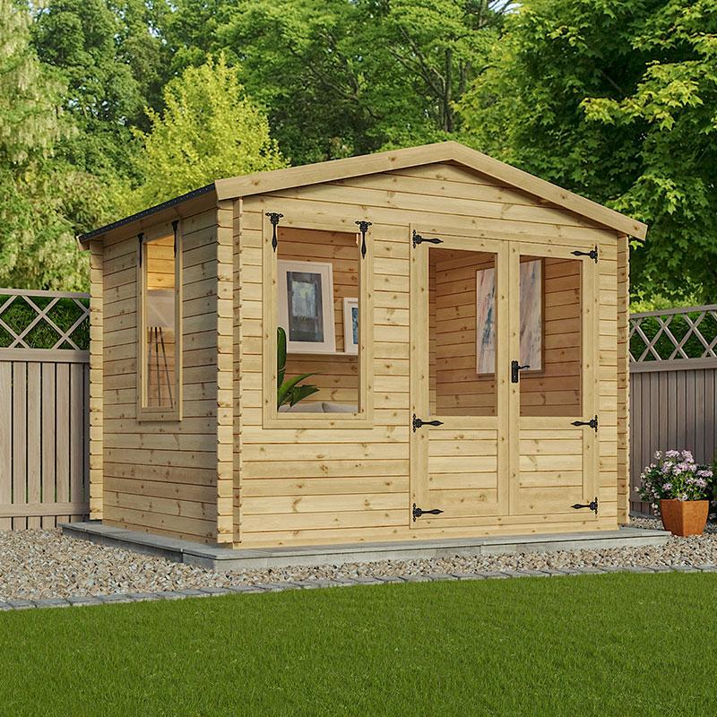 Image of 2.6x3.3m (8'x11') Alpine Banf 19mm Log Cabin - Summerhouse