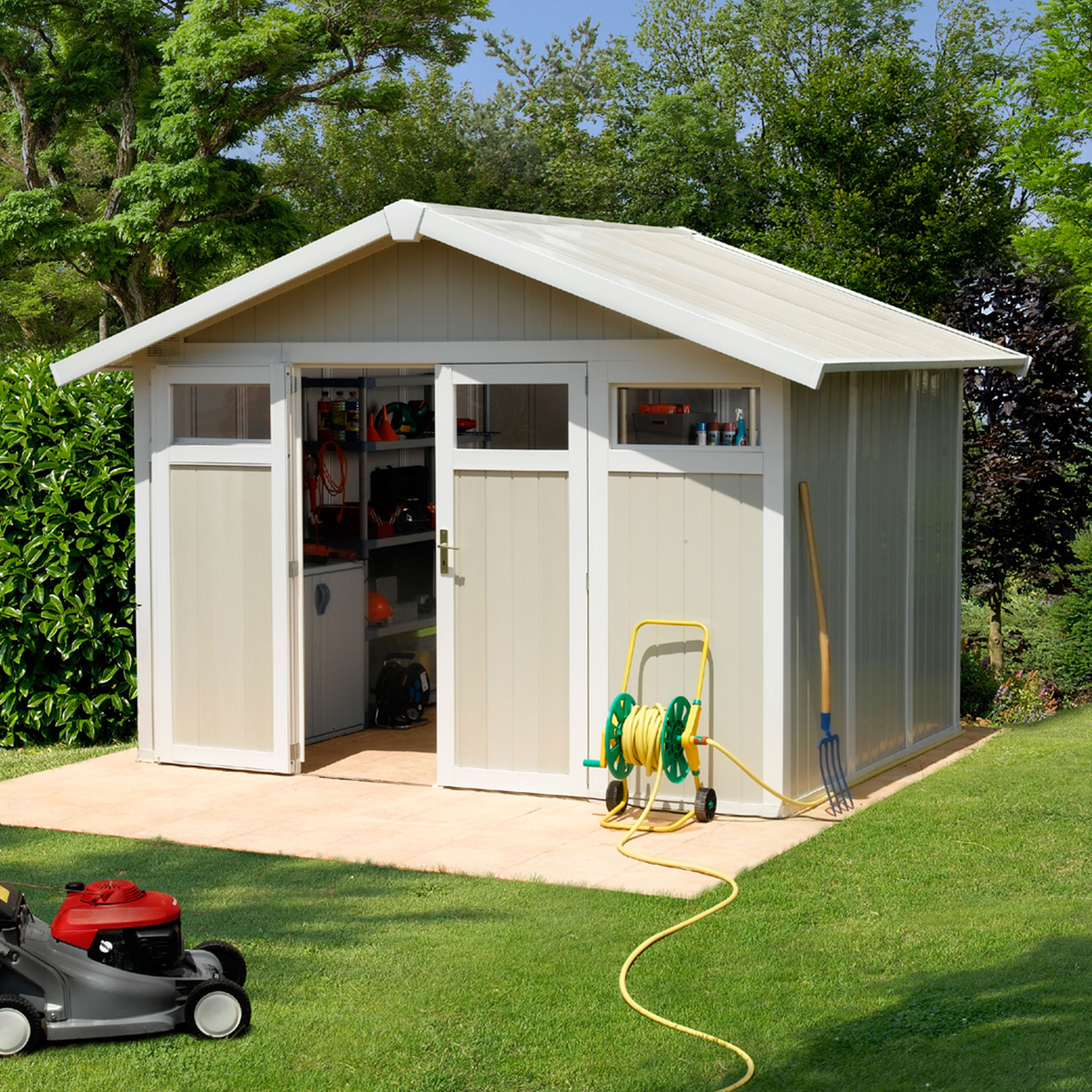 Image of 10'4 x 7'10 Grosfillex Utility 7.5 Plastic Garden Storage Shed (3.15m x 2.39m)