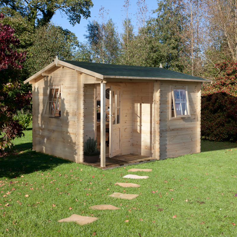 Image of 3.6x3.6m (12'x12') Forest Souternes (Malvern) 28mm Log Cabin - Summerhouse