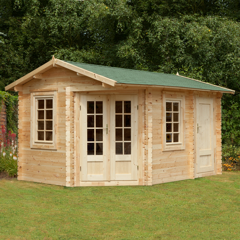 Image of 2.8x4m (9'x13') Forest Renwick (Ripon) 34mm Log Cabin - Summerhouse