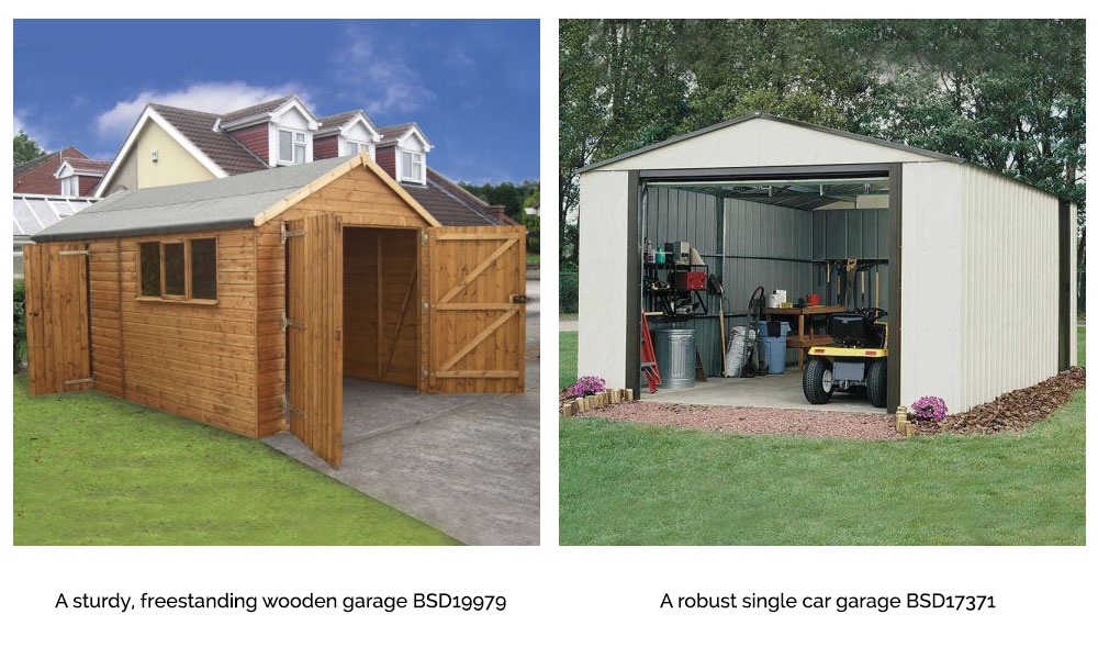 Freestanding Wooden and Metal Garages