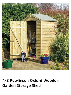 A 4x3 wooden storage shed with an apex roof