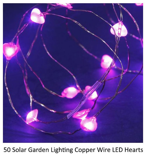 50 Solar Garden Lighting Copper Wire LED Hearts