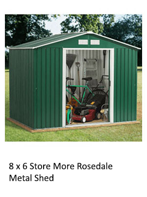 A green metal shed housing bicycles, a lawnmower and gardening tools