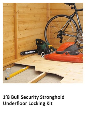 A bicycle secured in a wooden shed by an underfloor locking kit