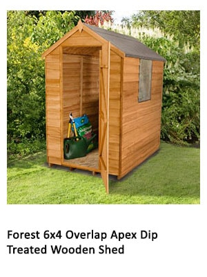 A 6x4 dip-treated wooden shed with a window and apex roof