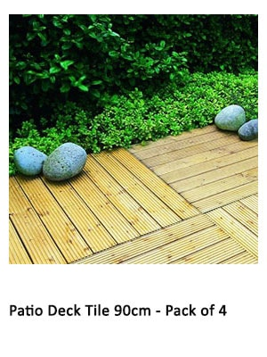 4 x 90cm patio deck tiles against a backdrop of decorative stones and greenery