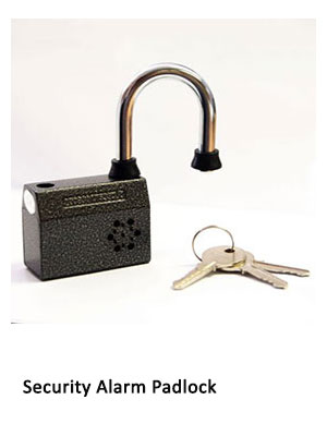 An alarmed padlock and set of keys