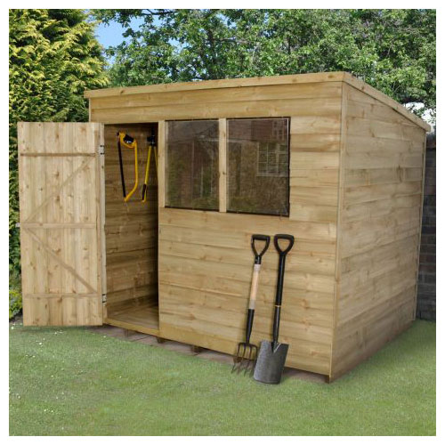 A pressure treated pent wooden shed with two windows and a single door