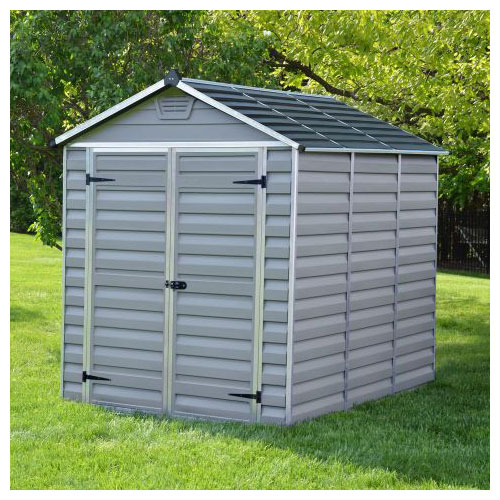 A grey plastic apex shed with double doors